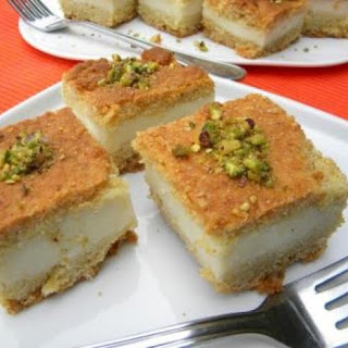 Maamoul Mad Bil Ashta....A specialty that has clotted cream (ashta) incased in a semolina-butter cake, flavored with orange blossom water