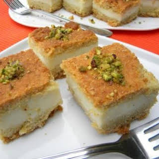 Maamoul Mad Bil Ashta....A specialty that has clotted cream (ashta) incased in a semolina-butter cake, flavored with orange blossom water.