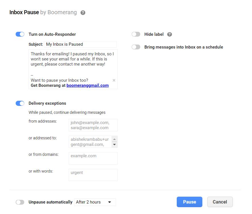 Inbox Pause Options