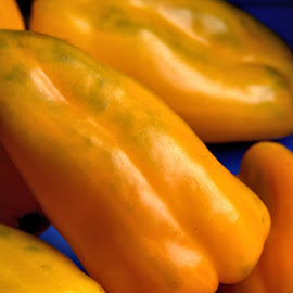 Peppers by Cal Brown - Food & Drink Fruits & Vegetables ( close up, peppers, street, vendor, yellow, vegetables, food, italy, vernazza )