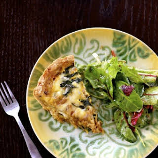 Spinach, Mushroom and Truffled Gouda Quiche.