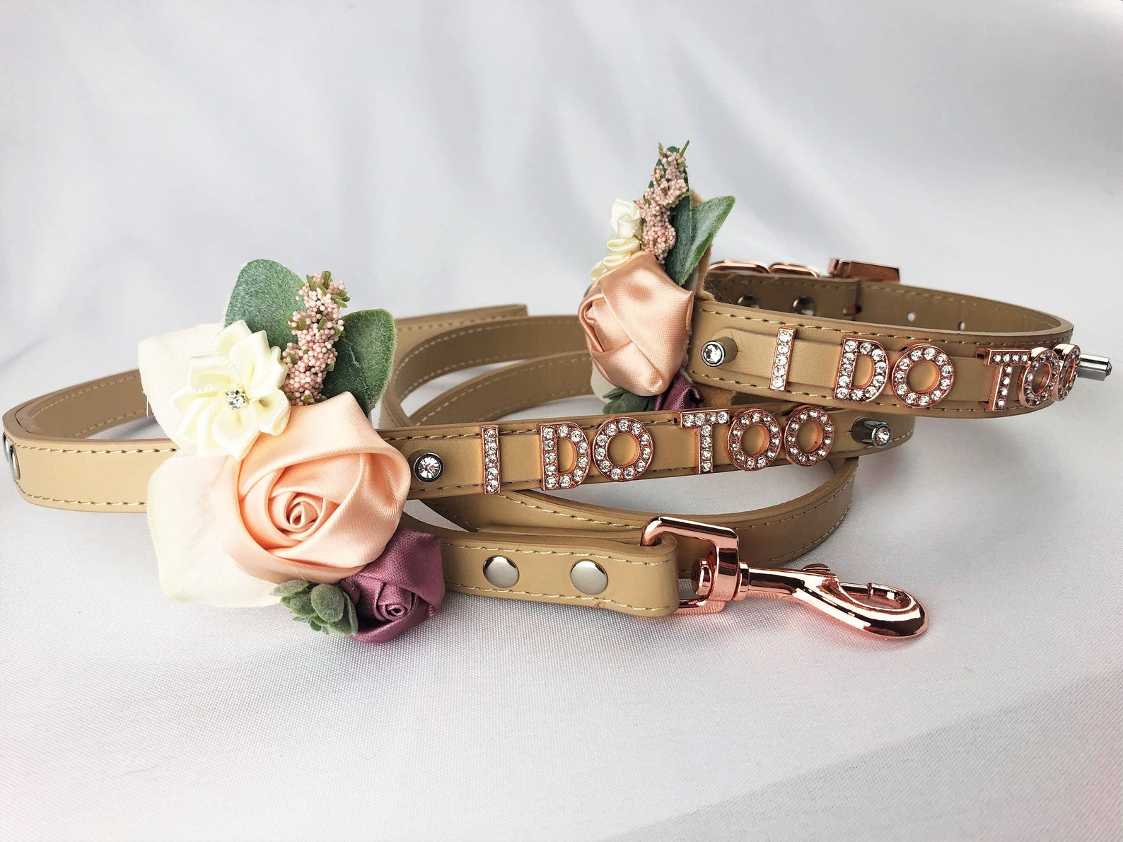 """Tan collar and leash with rose gold hardware and jeweled letters that say """"I do too"""""""
