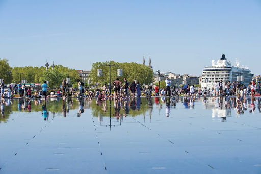 Miroir d'Eau is a reflecting pool close to the cruise terminal of Bordeaux, France.