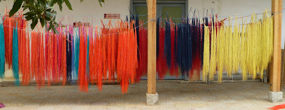 Photo: Dyed straw drying