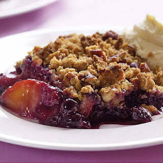 Peach & Blueberry Crisp with Spiced-Pecan Topping.