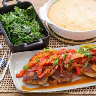 Center-Cut Pork Chops with Sautéed Vegetables & Cheddar-Scallion Cornbread