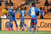 SuperSport United striker Bradley Grobler celebrates with teammates after scoring a goal in the 1-0 MTN8 second leg semi final win over Kaizer Chiefs on September 1 2018.