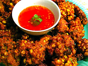Photo: crispy fried spicy corn fritters with sweet-and-sour sauce