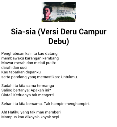 Puisi Chairil Anwar Sia Sia Koleksi Puisi