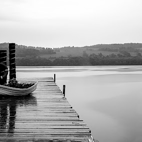 by Andrew Percival - Black & White Landscapes ( contrast, water, scotland, leading lines, black and white, reflections, loch, pear,  )