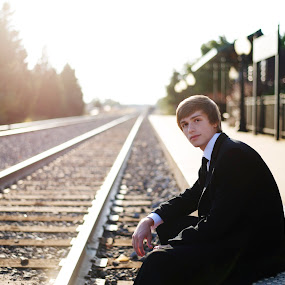 GQ by A. Caracciolo - People High School Seniors ( senior portrait, school, high school senior, railroad, male, teenager, suit )