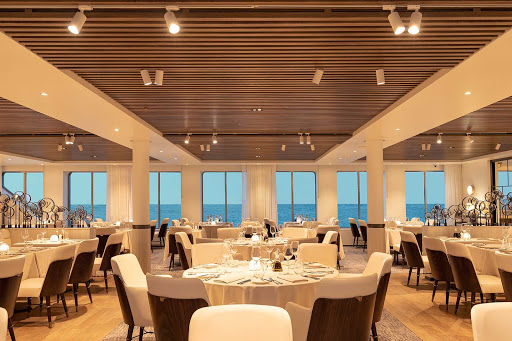 Enjoy seafood and regional specialties at the Restaurant on Silver Origin.