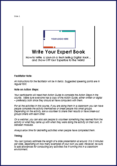 Write Your Expert Book - SpeakerNotes