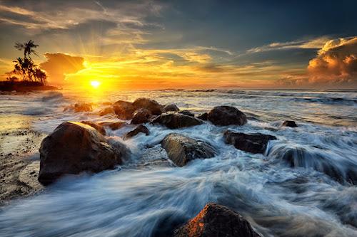 Emotion by Hendri Suhandi - Landscapes Waterscapes ( clouds, bali, splash, manyar, sunset, rock, sunrise, beach, flare, motion )