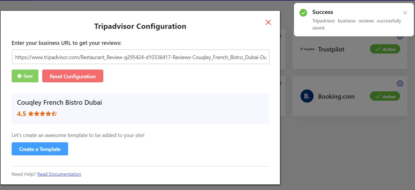 Tripadvisor successful configuration