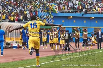 Photo: Ernest Sugira celebrates scoring the opener for Rwanda [Rwanda vs Gabon, CHAN - Group A, 20 Jan 2016 in Kigali, Rwanda.  Photo © Darren McKinstry 2016, www.XtraTimeSports.net]
