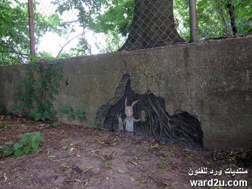طباشير ملون فى جداريات رائعه للفنان David Zinn
