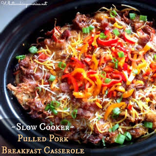 Slow Cooker Pulled Pork Breakfast Casserole.