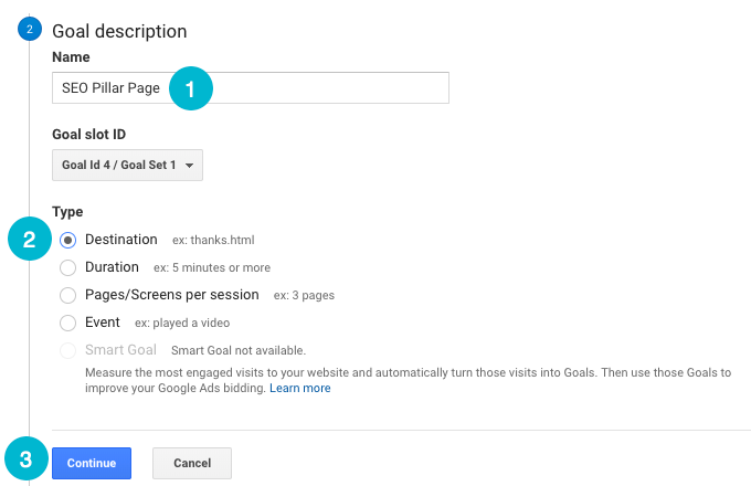 set up google analytics goals, step 3
