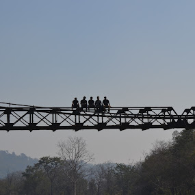 living on the edge by Harshit Bansal - Buildings & Architecture Bridges & Suspended Structures ( holiday, edge, friends, bridge, river )