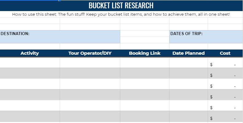 bucket list planner spreadsheet