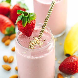 Strawberry Banana Smoothie with Almond Milk.