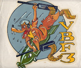 Photo: VBF 3 decal established on USS Yorktown (CV-10) on 1 January 1945, reformed 7 May 1945, redesignated VF-4A on 15 November 1946, redesignated VF-32 on 7 August 1948. insignia discontinued sometime when sqd became VF-4A.CDR Frank Lawlor TAilhook Association