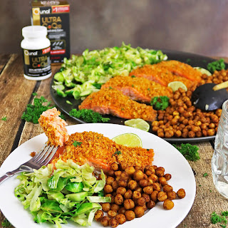 Walnut Encrusted Spicy Salmon with Roasted Chickpeas and Brussels Sprouts.