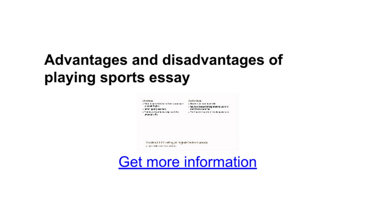 advantages and disadvantages of playing sports essay google docs