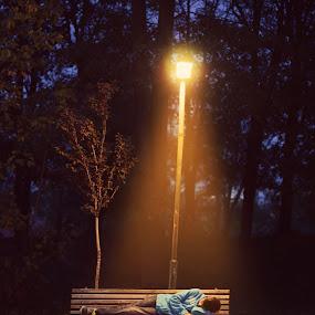 The Dreamer by Adrian  Limani - City,  Street & Park  City Parks ( dreamer, night, light, boy )