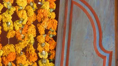 Photo: Marigold ristras and door
