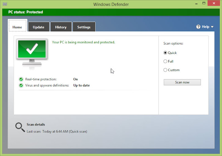 Windows Defender Anti Virus pada Windows 8
