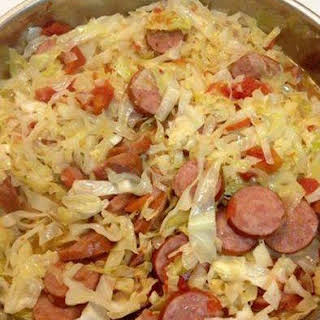 Fried Cabbage With Sausage.