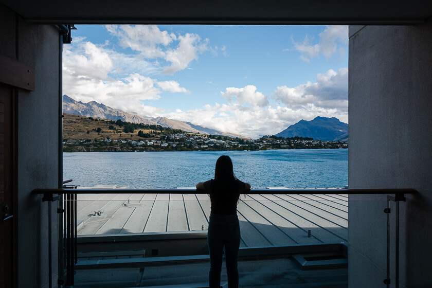 View over Lake Wakatipu from The Rees Queenstown accommodation.