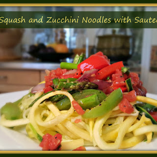 Summer Squash and Zucchini Noodles with Sauteed Veggies