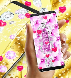 Golden luxury diamond hearts live wallpaper - náhled