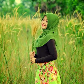 Smelling the Grass by Muhammad Irwansyah - People Portraits of Women ( putri sari indah model fashion ilalang dumai grass )