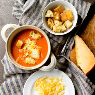Roasted Red Pepper and Gouda Soup.