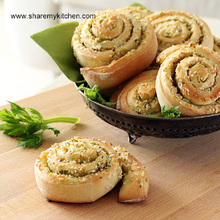 Leeks And Sesame Seeds Bread Swirls.