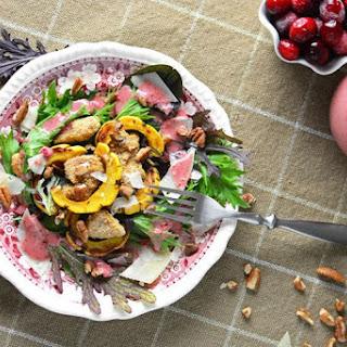 Spicy Greens, Delicata, and Crunchy Pork Salad