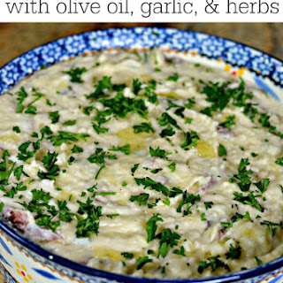 Parmesan Mashed Potatoes with Olive Oil, Garlic, & Parsley.