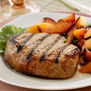 Tangy Maple-marinated Pork Chops With Stone Fruit Salsa.