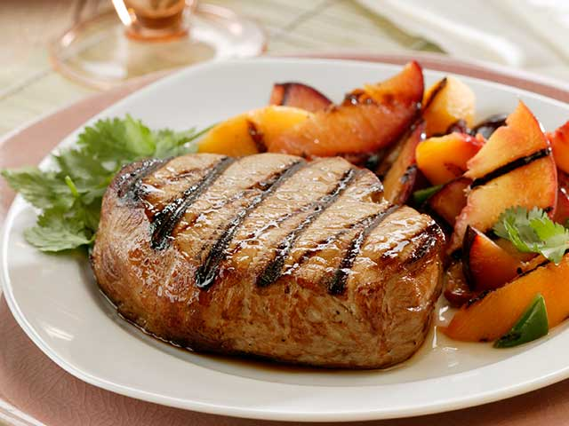 Tangy Maple-Marinated Pork Chops with Stone Fruit Salsa Recipe