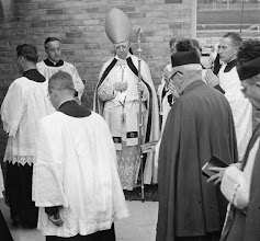 Photo: 1952 Entering school for Dedication and Blessing - Cardinal Edward Mooney.