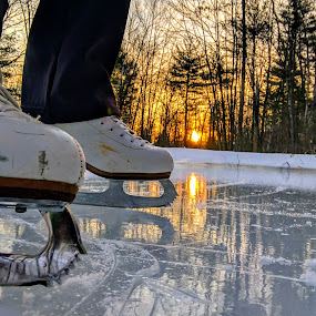 Pond Skating by Michelle Kelly - Sports & Fitness Ice hockey ( sunrise, nature, winter, ice, skate,  )
