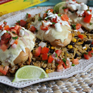 Cheesy Fiesta Chicken and Rice With Homemade Pico de Gallo