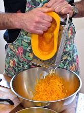 Photo: grating kabocha pumpkin