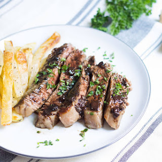Entrecote Steak with Red Wine Sauce.