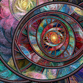 Swirling Rings by Peggi Wolfe - Illustration Abstract & Patterns ( abstract, wolfepaw, ring, jwildfire, bright, color, julian, spiral, fractal, digital,  )