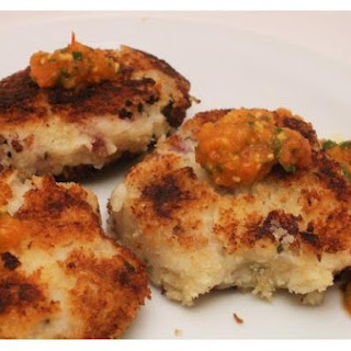 Sage Potato Cakes With Roasted Red Pepper and Tomato Coulis
